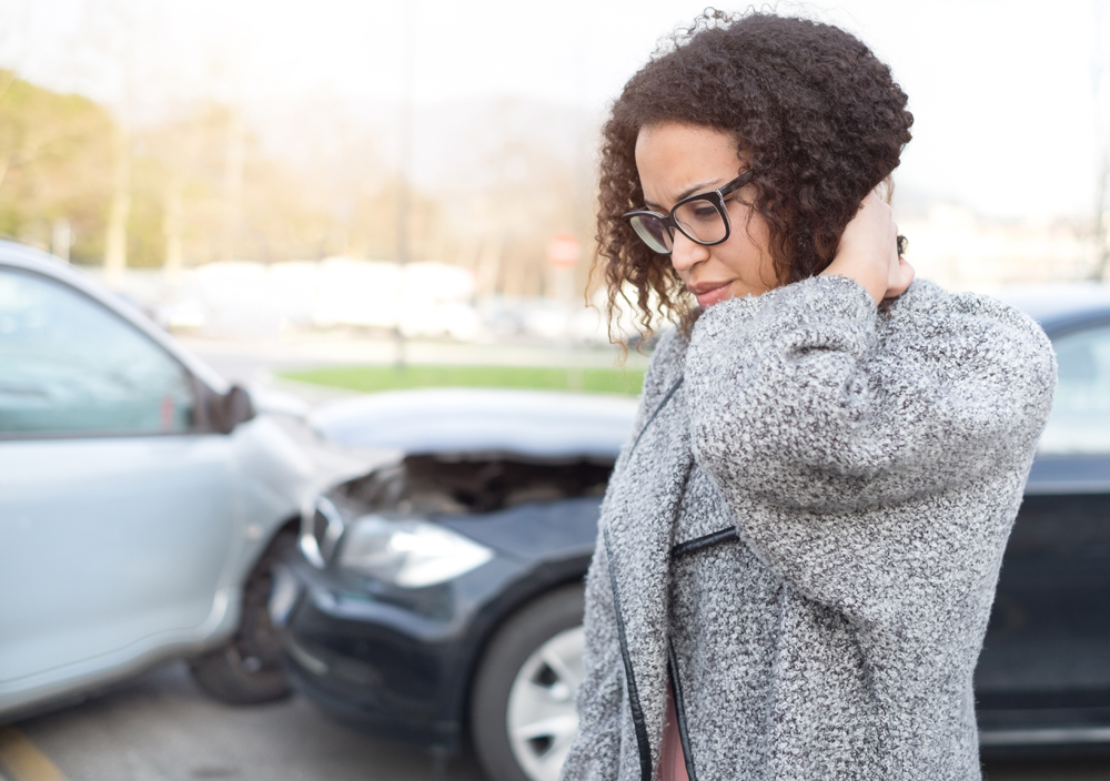 Woman in an auto accident
